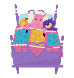 Sheep and bird with bear sleeping in bed vector