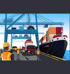 Shipping port scene vector