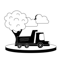 silhouette dump truck in the city with clouds and vector image