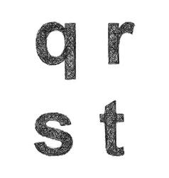 Sketch font set - lowercase letters q r s t vector