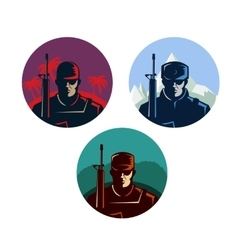 Soldier badges or avatars set Modern soldier vector