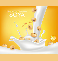 Soy milk splash realistic detailed milk vector