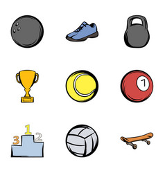 Sport training icons set cartoon style vector