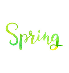 spring watercolor lettering hand drawn watercolor vector image
