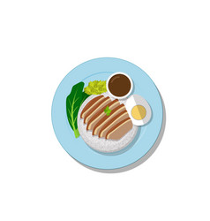 stewed pork leg on rice top view thai food vector image