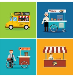 Street food shop flat design vector