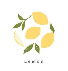 Stylish lemons design contemporary art print vector