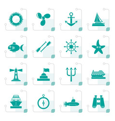 stylized marine and sea icons vector image