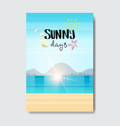 Summer beach landscape sunrise badge design label vector