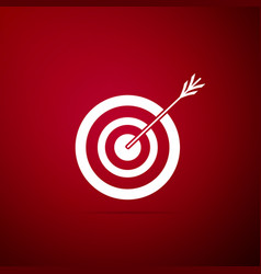 target with arrow icon isolated on red background vector image