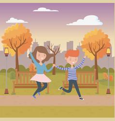 Teenager boy and girl cartoons design vector