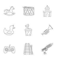 Toys for kids icon set outline style vector