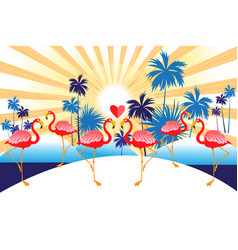 tropical background with red flamingos and palm vector image
