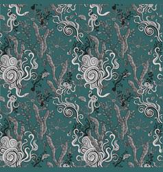 underwater seaweed seamless pattern vector image