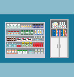 Veterinary clinic with pills drugs and bottles vector