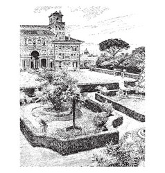 Villa medici from the terrace vintage engraving vector
