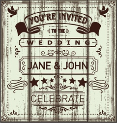 Vintage Wooden Wedding Invitation vector