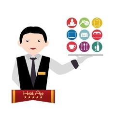 Waiter of hotel and digital apps design vector