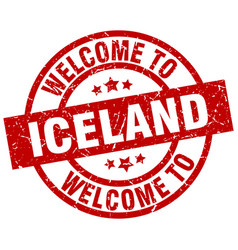 welcome to iceland red stamp vector image