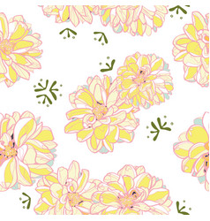 white floral pattern with yellow dahlia vector image