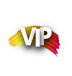 white vip sign with colorful brush stroke vector image