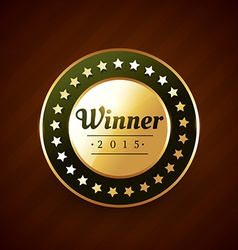 Winer of the year goldeb label badge design with vector