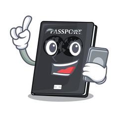 With phone black passport in a cartoon bag vector