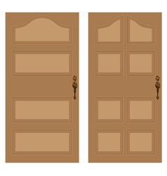 Wooden door on a white background Wooden texture vector image