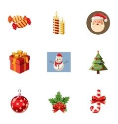 Xmas icons set cartoon style vector image
