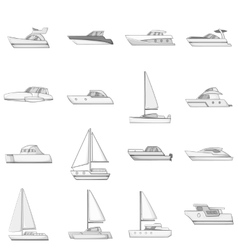 Yachts icons set monochrome style vector