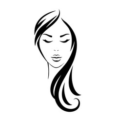 young woman head with black long hair vector image