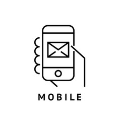 digital black hand mobile vector image