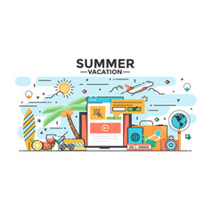 flat line design hero image - summer vacation vector image vector image