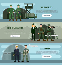 flat military horizontal banners vector image vector image