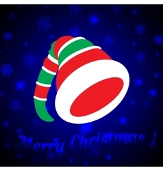 Hat of the Christmas Elf on a dark blue background vector image