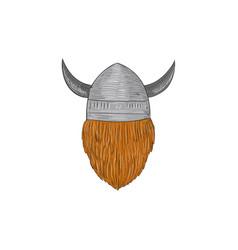 viking warrior head rear view drawing vector image vector image
