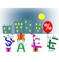 cartoon letter announcing discount vector image