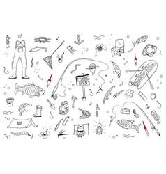 hand drawn fishing setfishing stuff in doodle vector image vector image