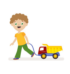 boy with toy car on a string small child on a vector image vector image