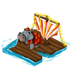 chinese behemoth crosses river on wooden raft vector image vector image