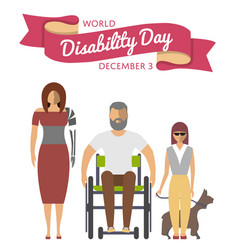 december 3 - world disability day greeting card vector image vector image
