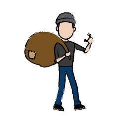 hacker character holding bag criminal concept vector image