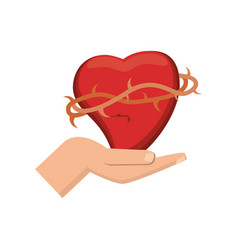 hand holding sacred heart catholicism vector image