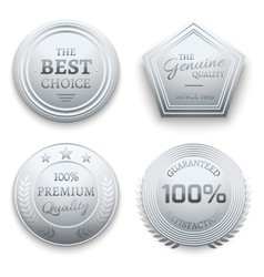 Polished silver metal premium sticker tag vector image