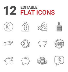12 coin icons vector image