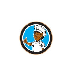 African american chef cook thumbs up circle vector