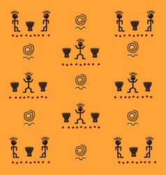 African pattern with funny ethnic characters vector