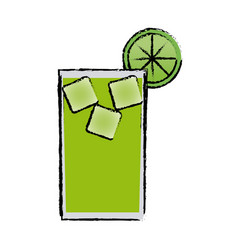 Alcohol drink and cocktail glass with lime for vector