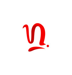 Alphabet letter n logo red color curve ribbon vector