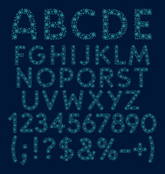 alphabet letters numbers and signs of blue stars vector image